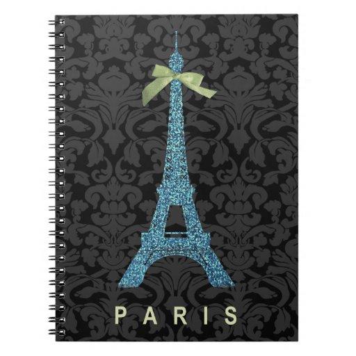 Blue Eiffel Tower in faux glitter Notebooks