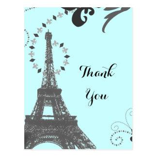 blue eiffel tower vintage paris thank you postcard