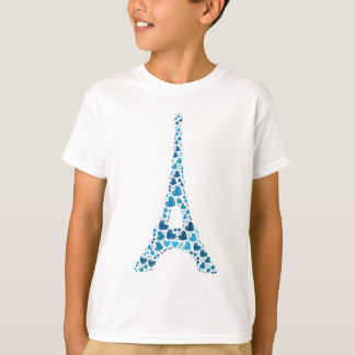 Blue Eiffel Tower with hearts Shabby Chic Shirt