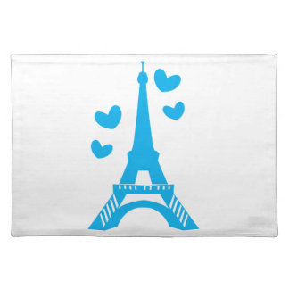 Blue Eiffel tower with love hearts Place Mats