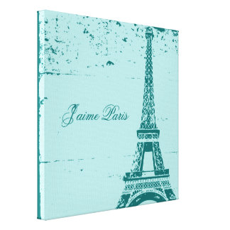 Blue Eiffel Tower Wrapped Canvas Art