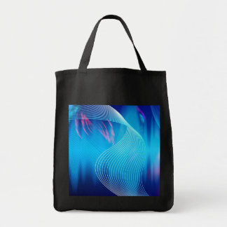 Blue Electric Audio Waveform Abstract Grocery Tote Bag