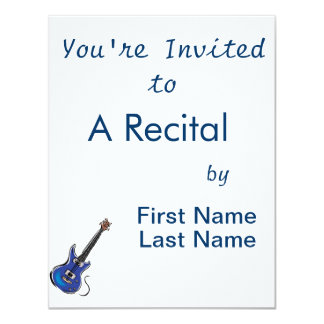 """blue electric guitar music graphic.png 4.25"""" x 5.5"""" invitation card"""