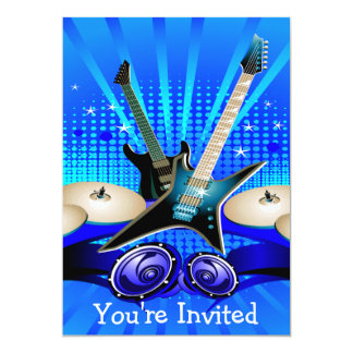Blue Electric Guitars, Drums & Speakers Grad Party 13 Cm X 18 Cm Invitation Card
