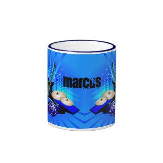 Blue Electric Guitars, Drums & Speakers Ringer Mug