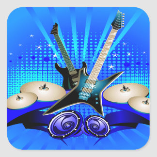 Blue Electric Guitars, Drums & Speakers Square Sticker
