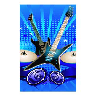 Blue Electric Guitars, Drums & Speakers Custom Stationery