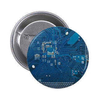 blue electronic circuit board computer pattern 6 cm round badge