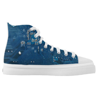 blue electronic circuit board computer pattern high tops