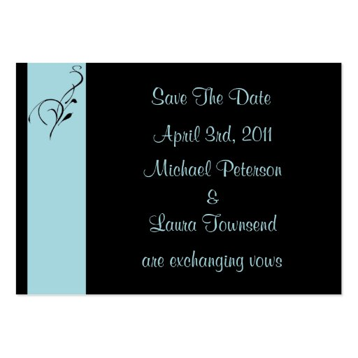Blue Elegance Mini Save The Date Card Business Card Template
