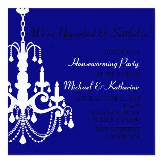 Blue Elegant Chandelier Housewarming Party Invite