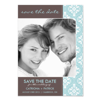 Blue Elegant Damask Save the Date Announcements