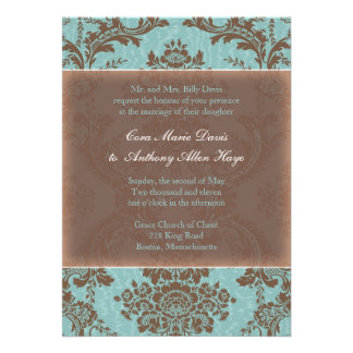 Blue Elegant Damask Wedding Invitation