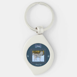 Blue Elegant Dog or Cat Memorial Silver-Colored Swirl Key Ring
