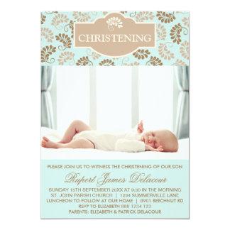 "Blue Elegant Floral Christening Photo invitation 5"" X 7"" Invitation Card"