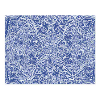 Blue Elegant flow Pattern Postcard