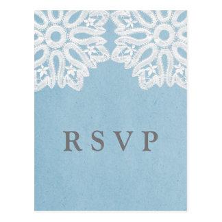 Blue Elegant Lace RSVP Postcard