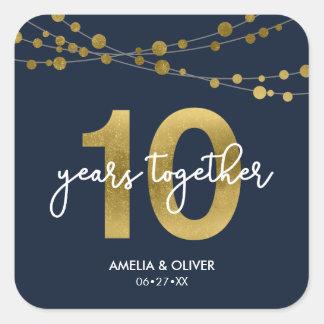Blue Elegant Lights 10th Wedding Anniversary Square Sticker