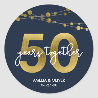 Blue Elegant Lights 50th Wedding Anniversary Classic Round Sticker