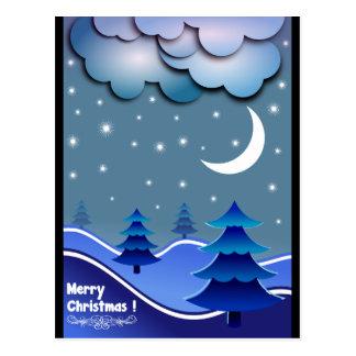 Blue Elegant Snow Stars Balls Tree Merry Christmas Postcard