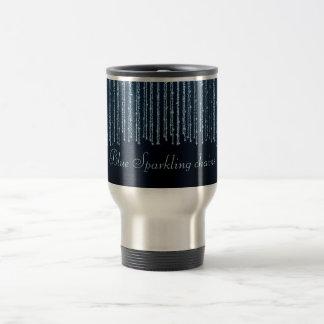Blue elegant sparkling chains stainless steel travel mug