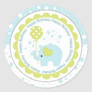 Blue Elephant and Balloon Boys Birthday Round Sticker