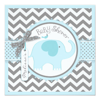 Blue Elephant and Chevron Print Baby Shower Card