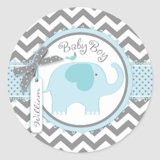 Blue Elephant and Chevron Print Baby Shower Round Sticker