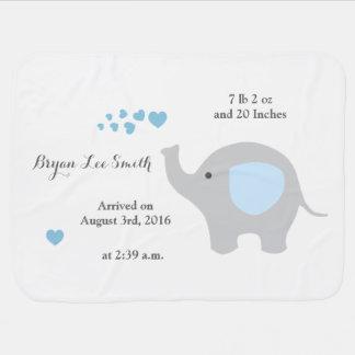 Blue Elephant Baby Birth Stats Announcement Boy Baby Blanket
