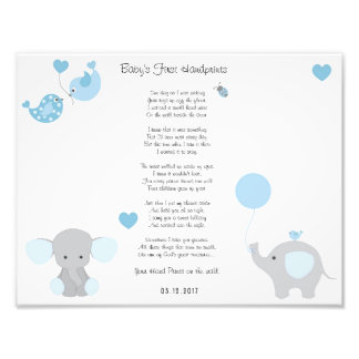 Blue Elephant Baby Boy Handprints Wall Art Photographic Print