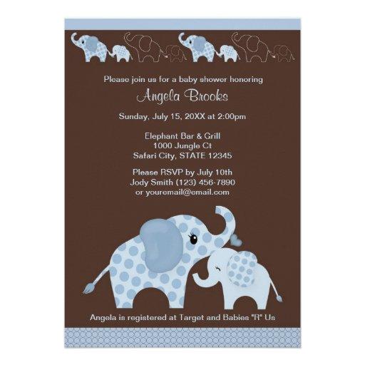 Blue ELEPHANT Baby Shower Invitation CE-B