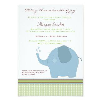Blue Elephant Baby Shower Invite