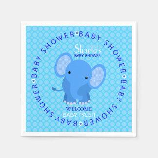 Blue Elephant Baby Shower Paper Napkins