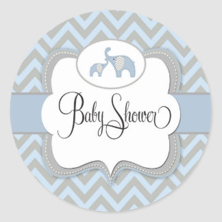 Blue Elephant Baby Shower Sticker