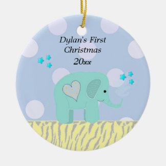 Blue Elephant Baby's First Christmas Ceramic Ornament