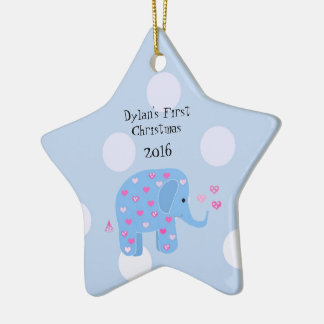 Blue Elephant Baby's First Christmas Christmas Ornaments