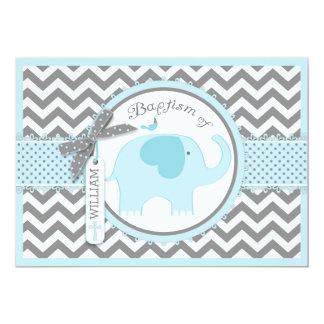 Blue Elephant Bird and Chevron Print Baptism 13 Cm X 18 Cm Invitation Card