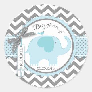 Blue Elephant Bird and Chevron Print Baptism Round Sticker