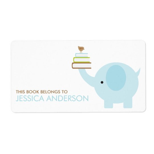 Blue Elephant Bookplates Labels