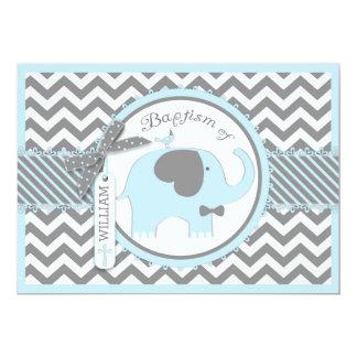 Blue Elephant Bow Tie and Chevron Print Baptism Card