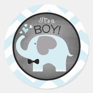 Blue Elephant Bow-tie Chevron Baby Shower Round Sticker