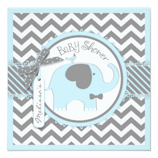Blue Elephant Bow-tie Chevron Print Baby Shower 13 Cm X 13 Cm Square Invitation Card