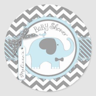 Blue Elephant Bow-tie Chevron Print Baby Shower Round Sticker