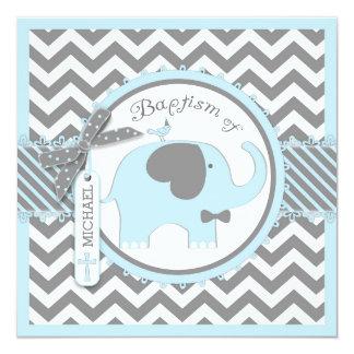 Blue Elephant Bow Tie Chevron Print Baptism Card
