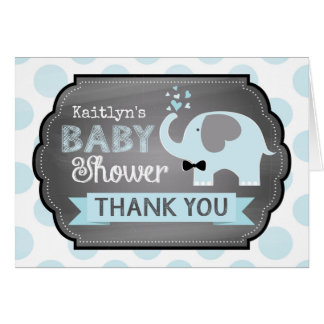 Blue Elephant Bow-tie Dot Print Thank You Card