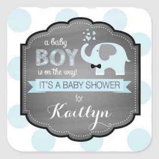 Blue Elephant Bow-tie Dots Baby Shower Square Sticker