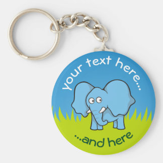 Blue elephant cartoon key ring