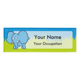 Blue elephant cartoon name tag