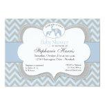 Blue Elephant Chevron Baby Shower Invitation 13 Cm X 18 Cm Invitation Card