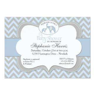 Blue Elephant Chevron Baby Shower Invitation